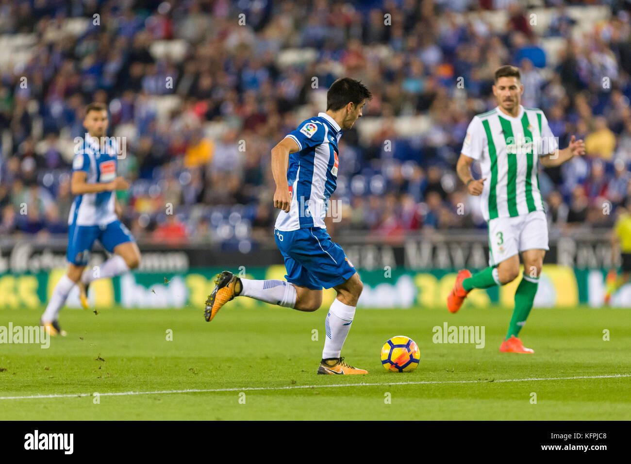 Barcelona, Spain. 30th Oct, 2017. RCD Espanyol forward Gerard Moreno (7) during the match between RCD Espanyol against - Stock Image