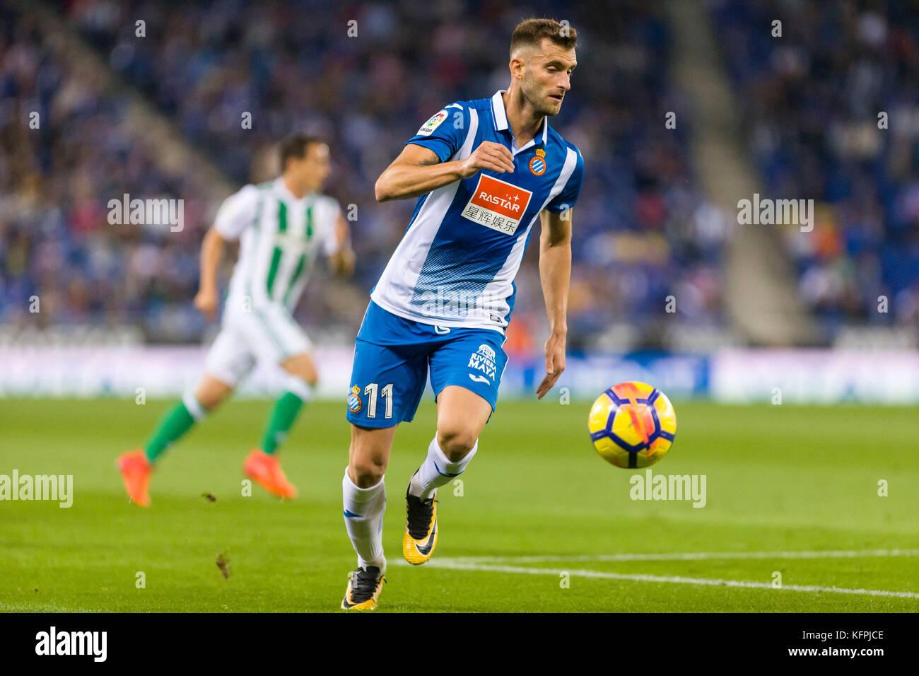 Barcelona, Spain. 30th Oct, 2017. RCD Espanyol forward Leo Baptistao (11) during the match between RCD Espanyol - Stock Image