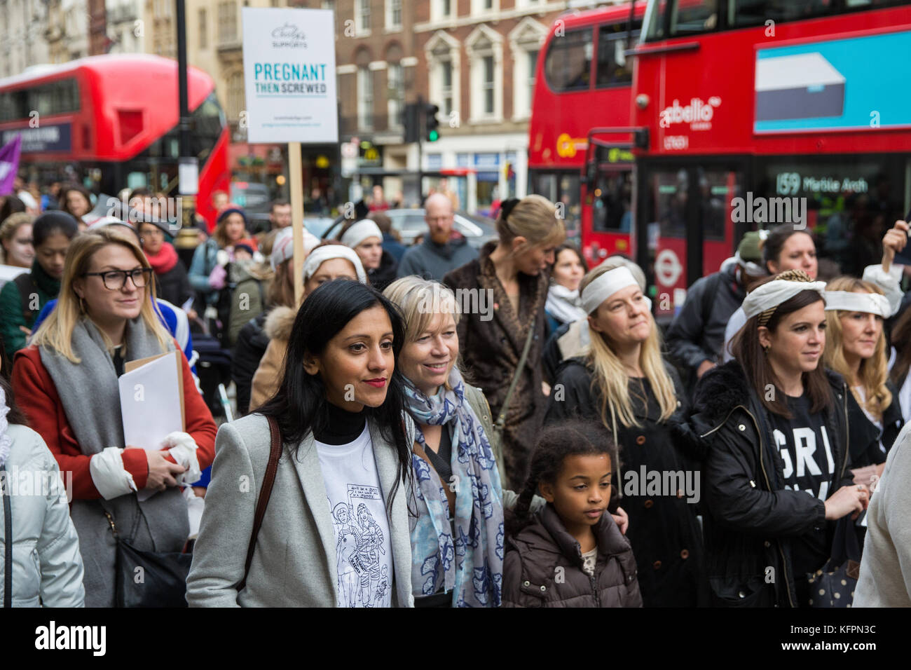 London, UK. 31st October, 2017. Actress Manjinder Virk takes part in the March of the Mummies with supporters of - Stock Image