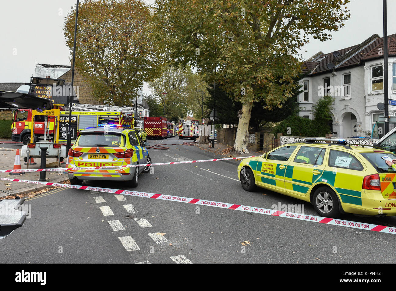 London, United Kingdom. 31st October 2017. A man has been rescued from a house fire in Leythe Road in Acton, London. Stock Photo