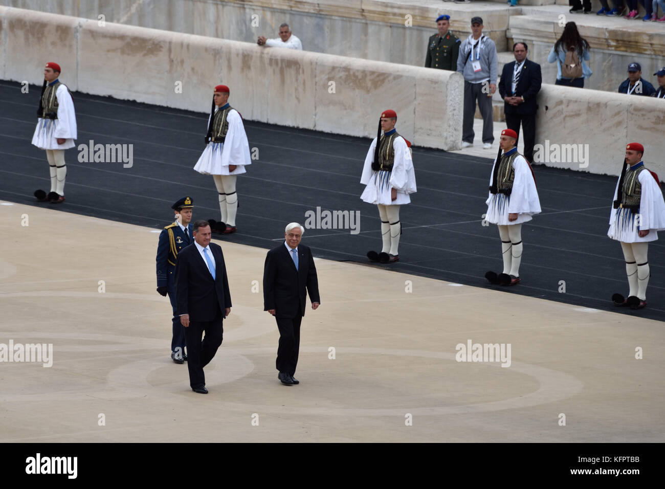 Athens, Greece, 31st October, 2017. The president of the Hellenic Republic Prokopis Pavlopoulos (R) arrives at the - Stock Image