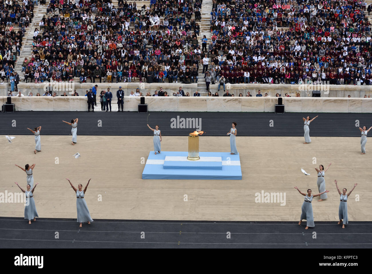 Athens, Greece, 31st October, 2017. Priestesses perform during the handover ceremony of the Olympic Flame for the - Stock Image