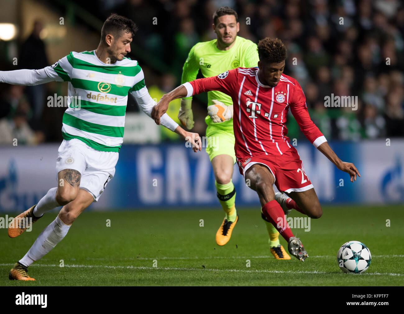 Glasgow, UK. 31st Oct, 2017. Bayern's Kingsley Coman (r) scores to make it 0:1, Nir Bitton (l) and goalie Craig - Stock Image