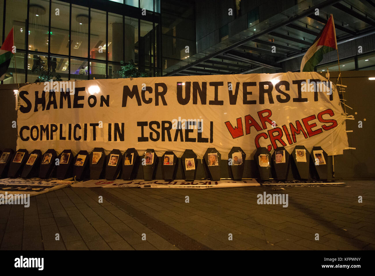 Manchester, UK. 31st Oct, 2017. A banner alleging the University of Manchester's complicity in the war crimes Israel Stock Photo