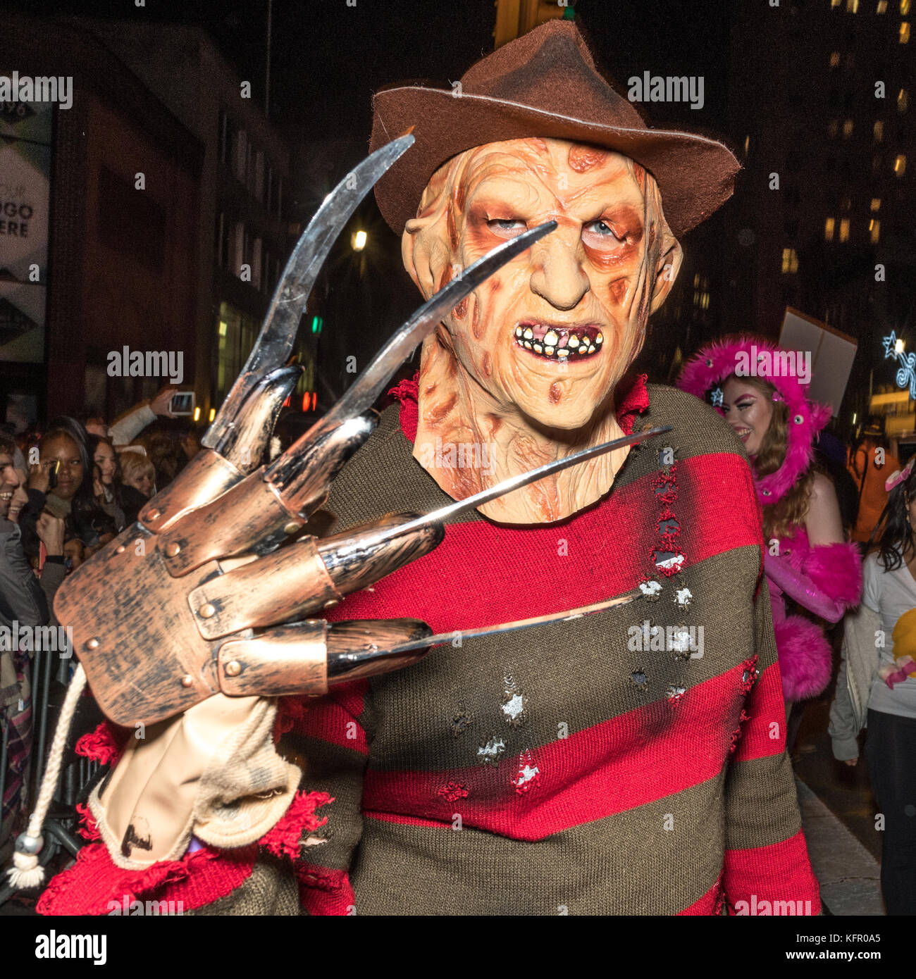 New York, USA. 31st Oct, 2017. A Reveler Wears A Costume Characterized