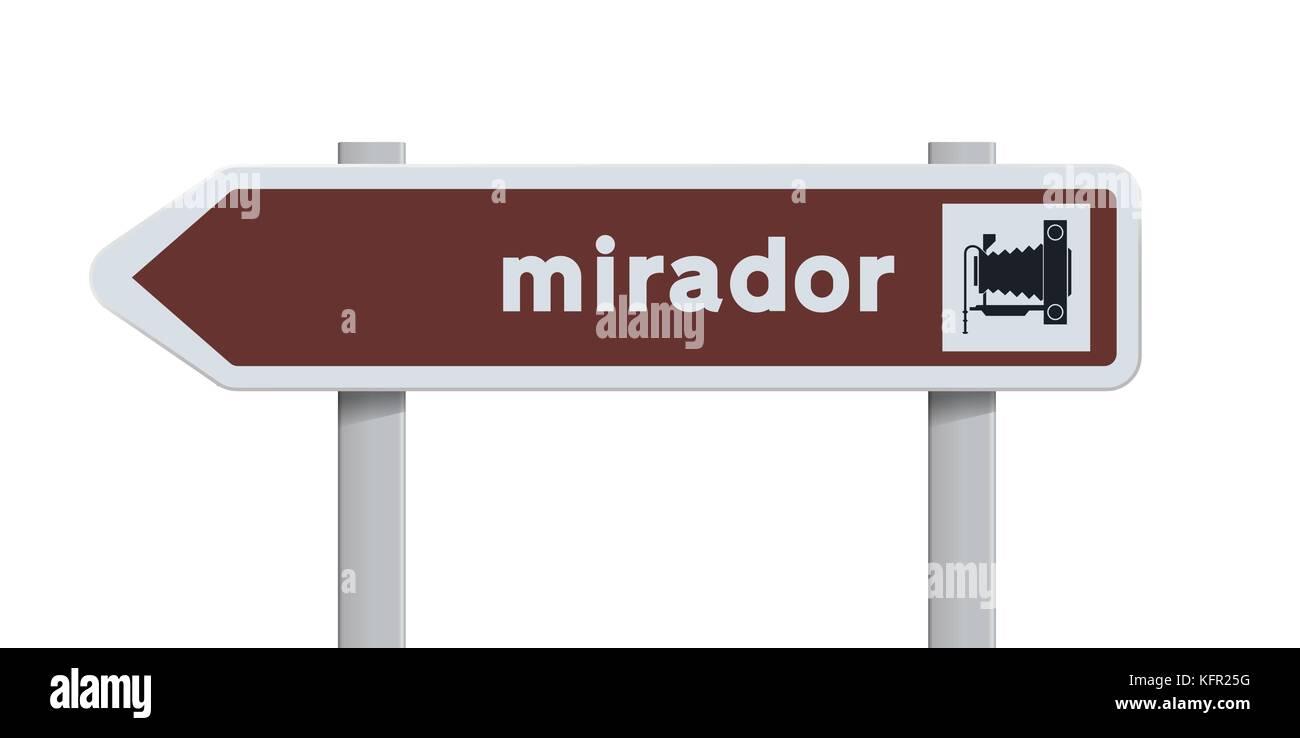 Vector illustration of Spanish direction road sign to the Mirador (Point of view) - Stock Image