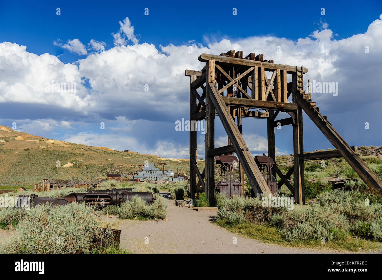 Ruined Buidlings in the Ghost Town of Bodie, California. - Stock Image