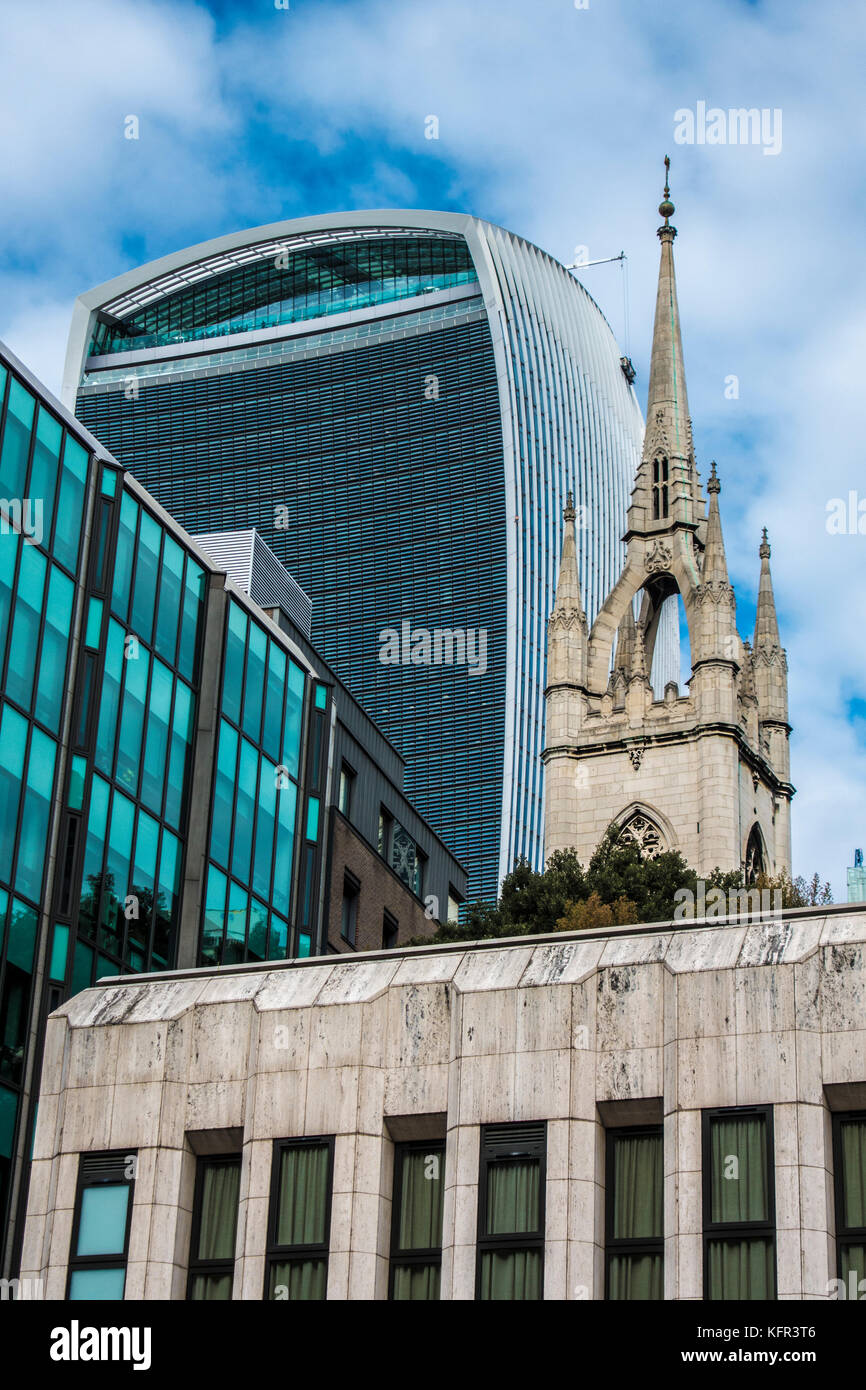 Mix of old and new with the medieval ruins of St Dunstan in the East Church, near to the Walkie Talkie building, - Stock Image