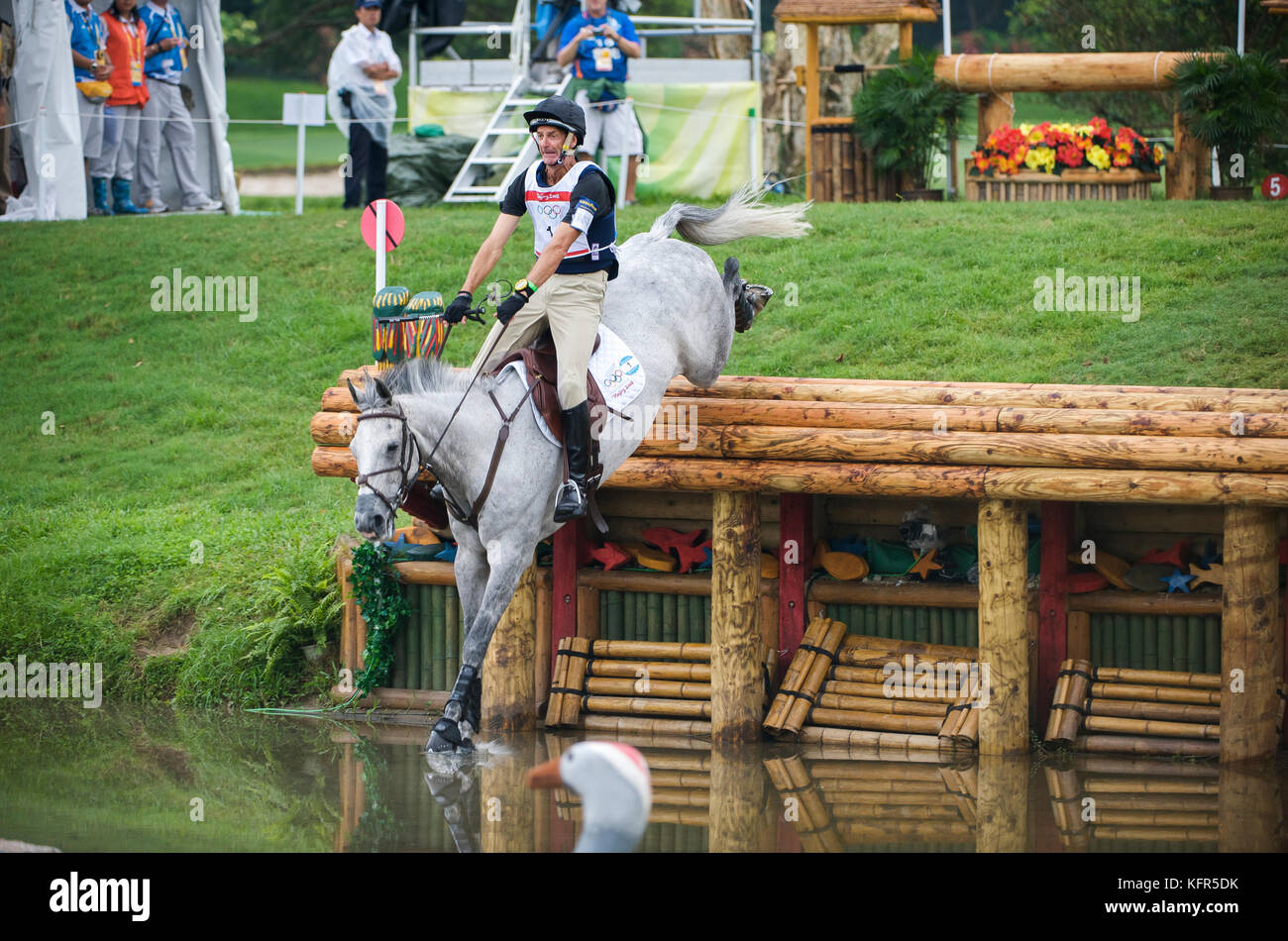Olympic Games 2008, Hong Kong (Beijing Games) August 2008, Mark Todd (NZL) riding Gandalf, eventing cross country - Stock Image