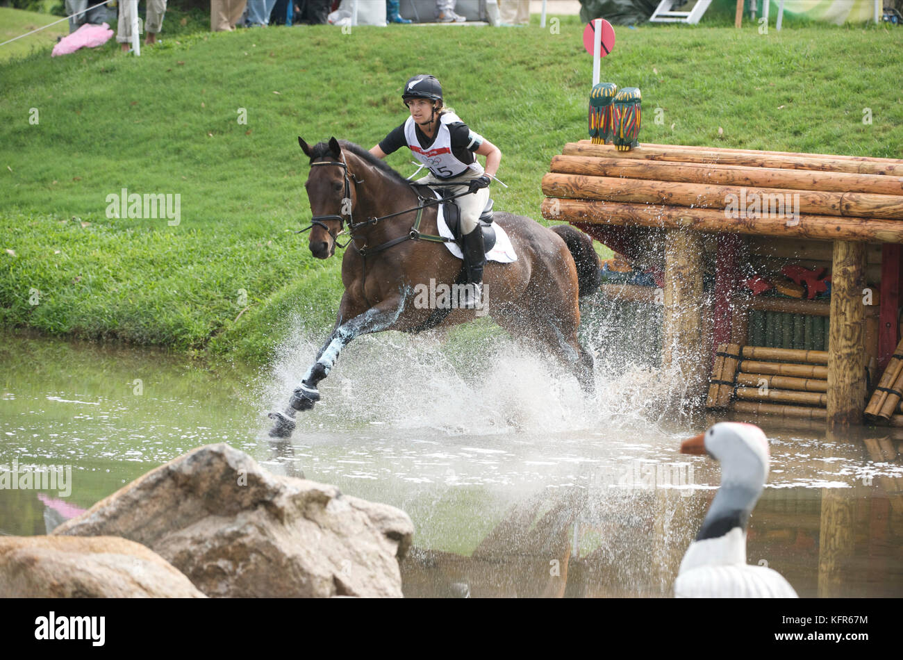 Olympic Games 2008, Hong Kong (Beijing Games) August 2008, Heelan Tompkins (NZL) riding Sugoi, eventing cross country - Stock Image