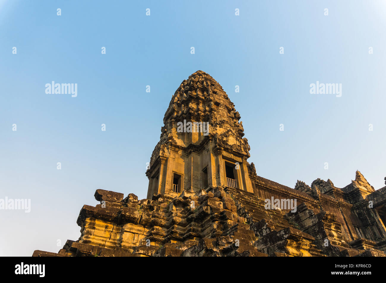 Sunset light shine on angkor wat in evening at siem reap cambodia - Stock Image