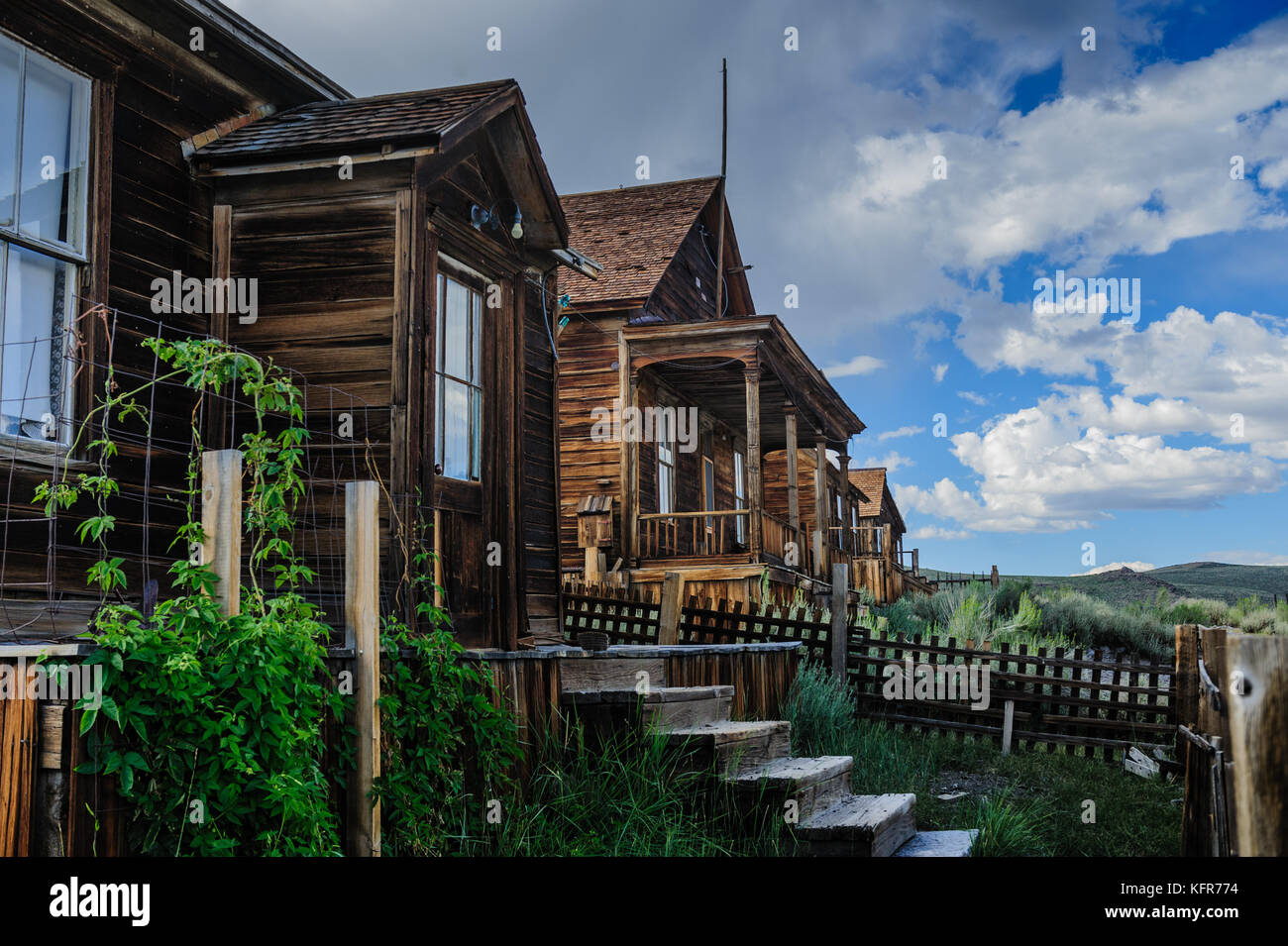Ruined Houses in an American Ghost Town - Stock Image