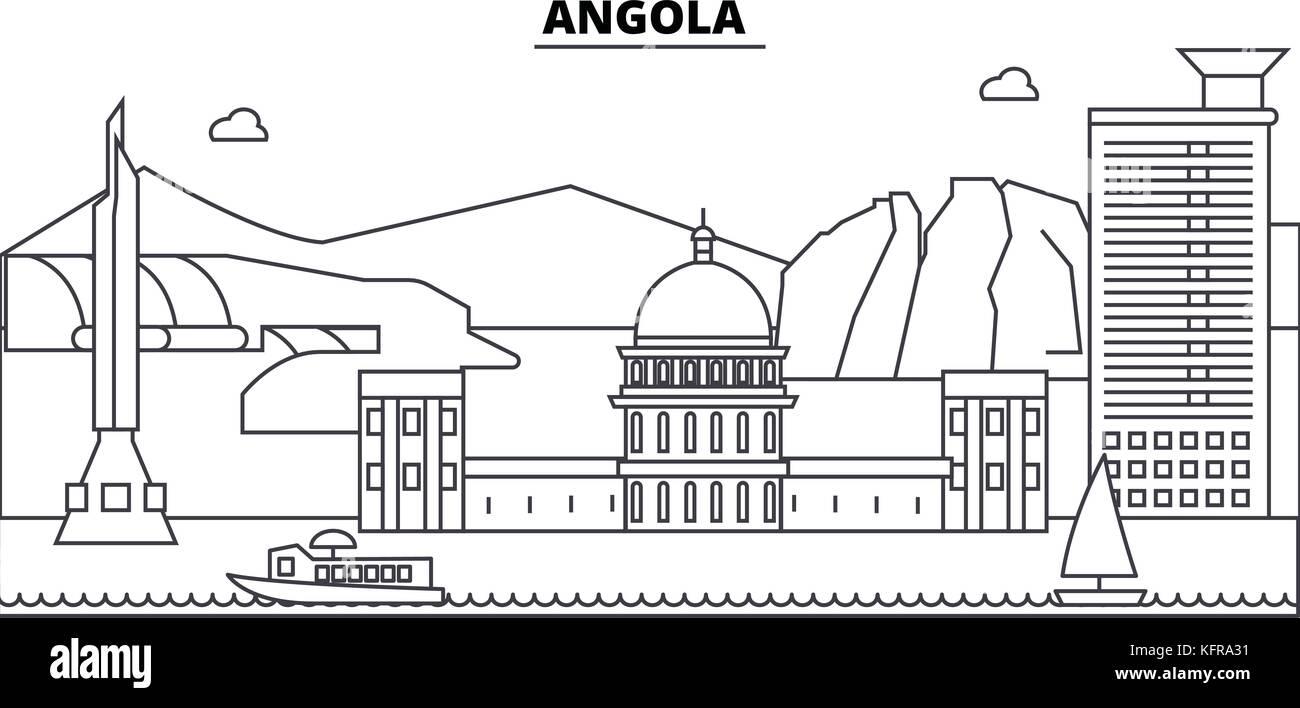 Angola architecture skyline buildings, silhouette, outline landscape, landmarks. Editable strokes. Urban skyline - Stock Vector