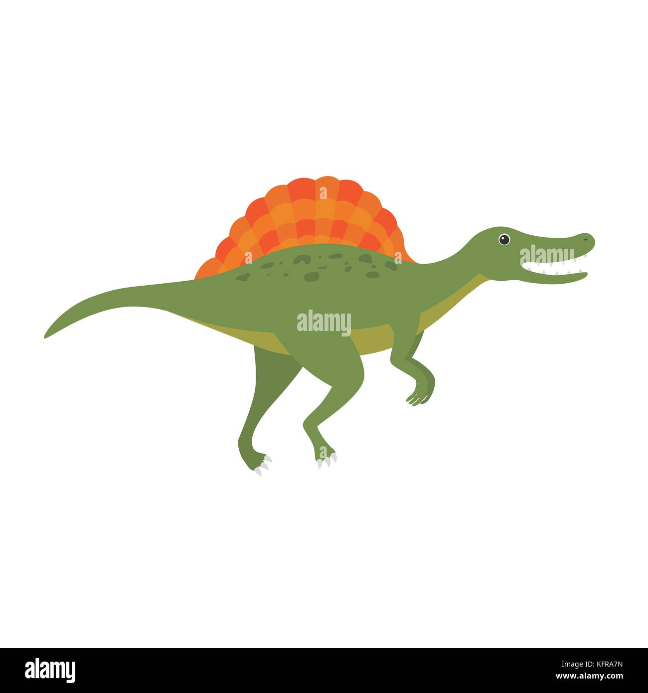 Vector flat style illustration of prehistoric animal - spinosaurus. - Stock Image