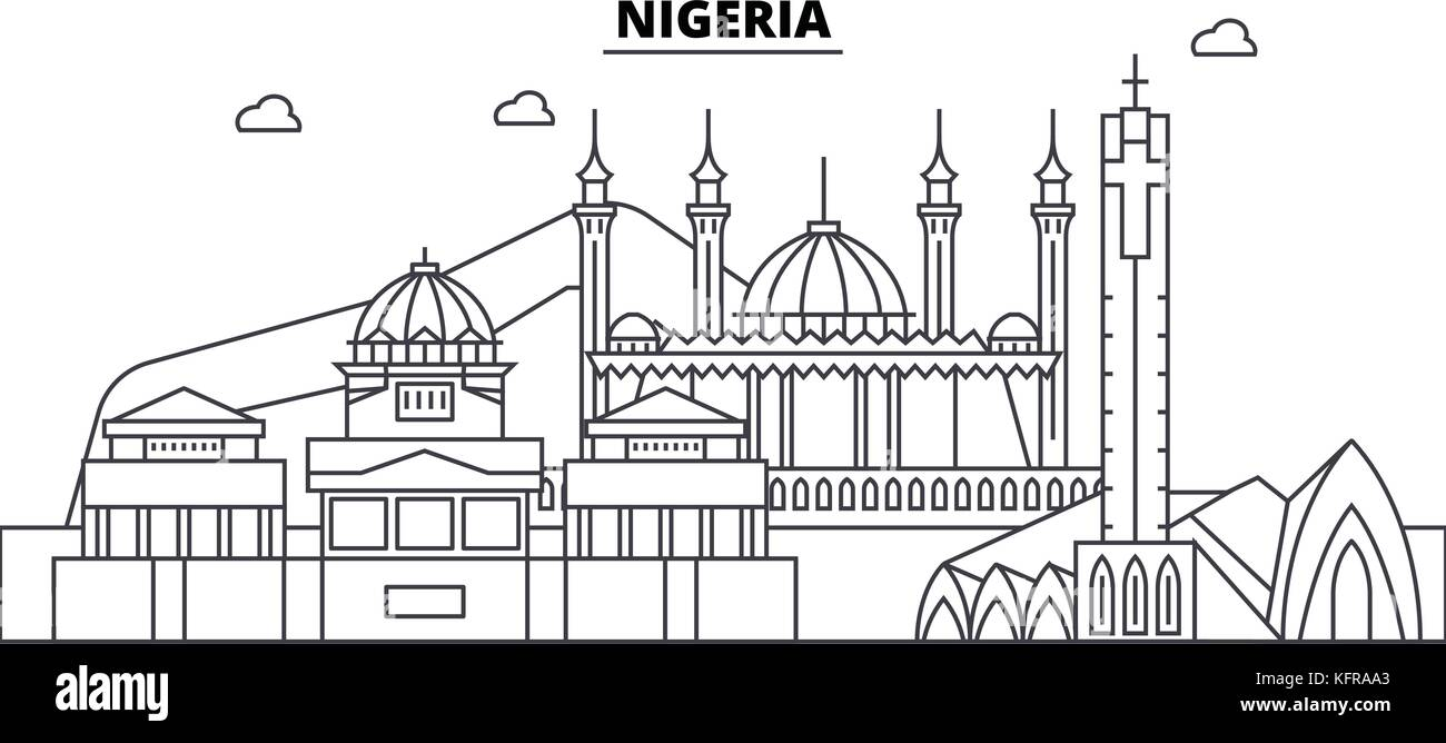 Nigeria architecture skyline buildings, silhouette, outline landscape, landmarks. Editable strokes. Urban skyline - Stock Image
