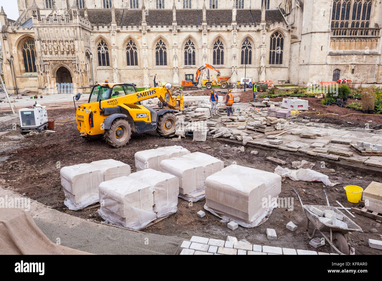 Major landscaping work in progress at Gloucester Cathedral UK - Stock Image