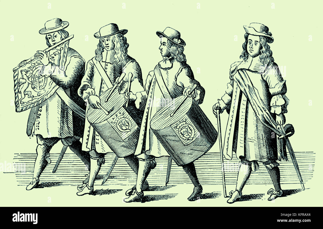 Two drum players, a fife and a drum-major. Illustration of the funeral of The Duke of Albermarle, 1670, by F. Sandford, - Stock Image