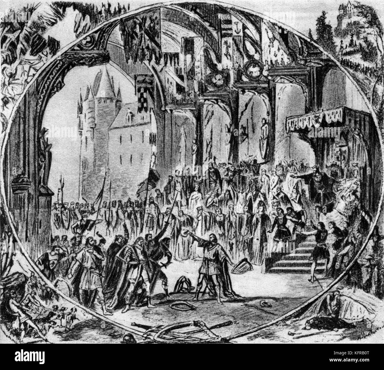 First performance of Tannhäuser in Paris, illustrated by Alphonse-Marie-Adolphe de Neuville. Tannhäuser, - Stock Image