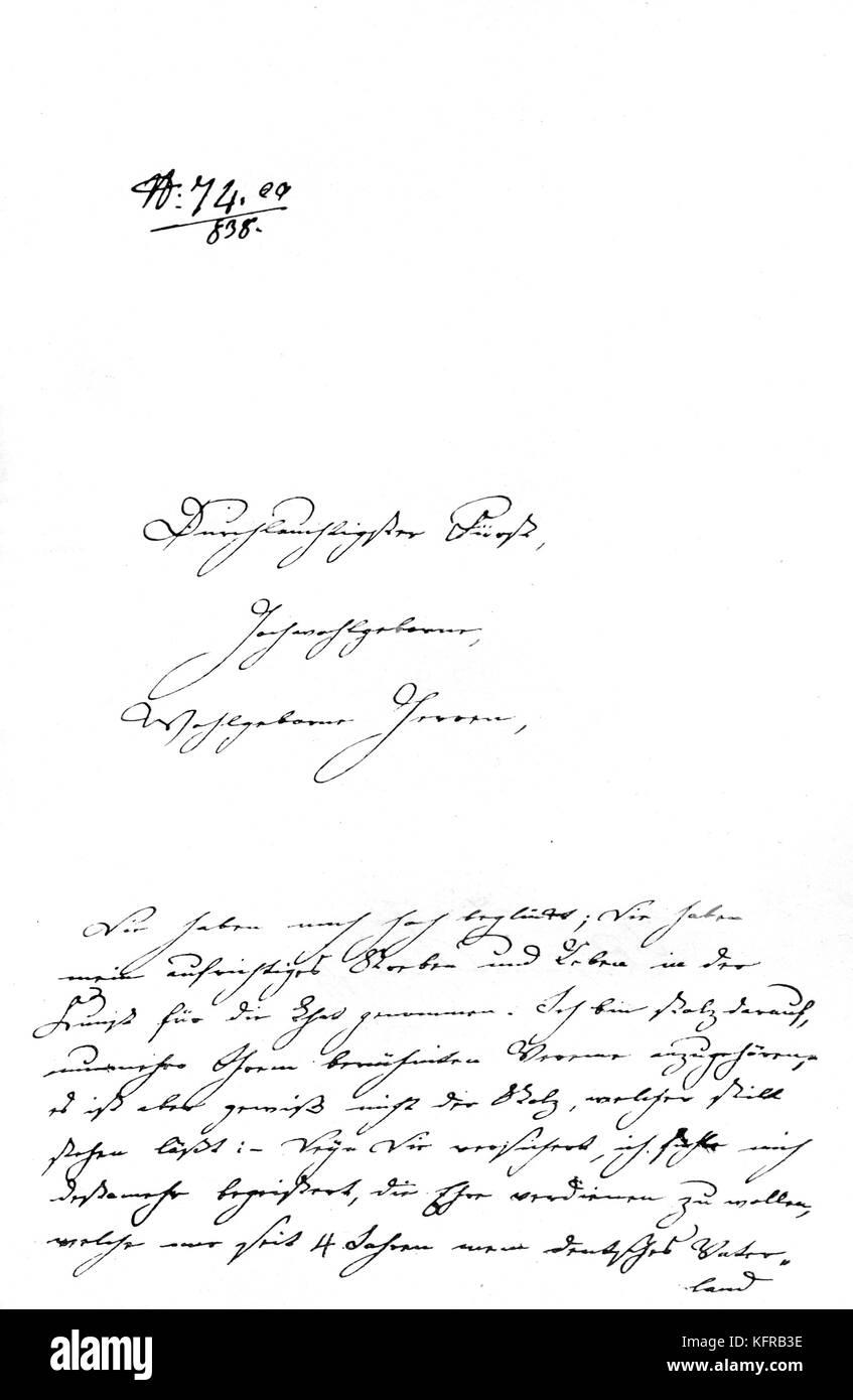 Clara Schumann 's letter - to the Viennese Society of  Friends of Music  (Gesellschaft der Musikfreunde) regarding - Stock Image