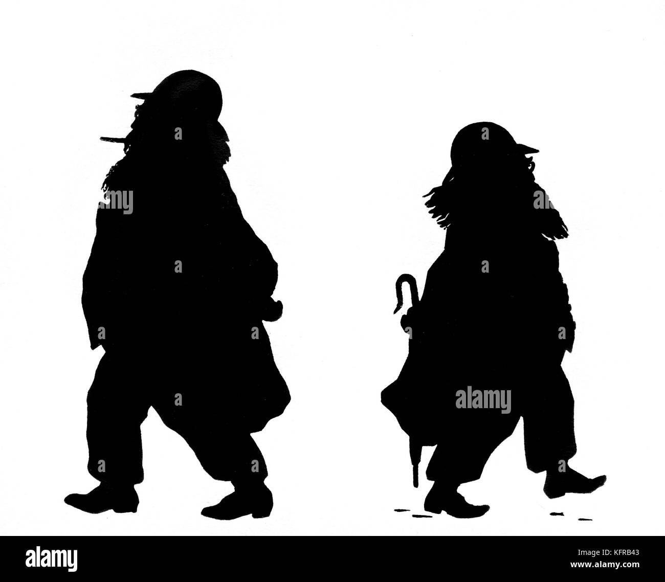 Johannes Brahms.   Caricature silhouette by Otto Bohler/ Boehler. German composer, 7 May 1833 - 3 April 1897 - Stock Image