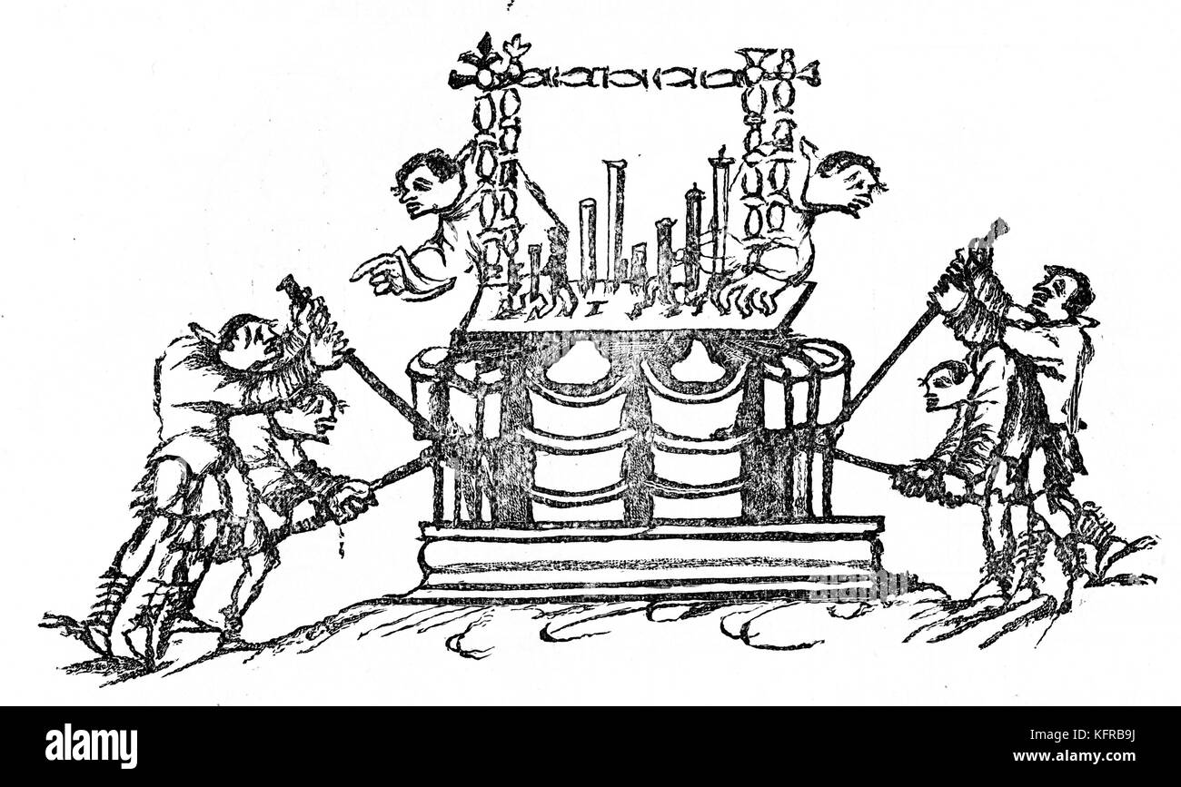 Grand organ - 9th century illustration. With  bellows and double keyboard. From illustrated psalter to Psalm CL. - Stock Image