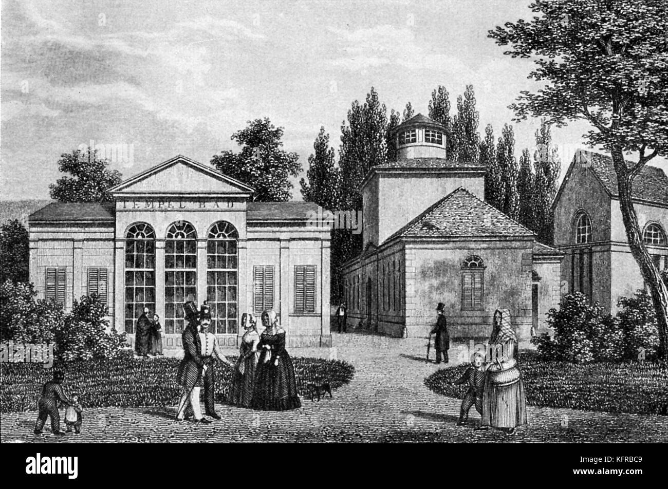 Tepliz - meeting place of Beethoven and Goethe in 1812. Spa town in the Czech Republic. Early nineteenth-century Stock Photo