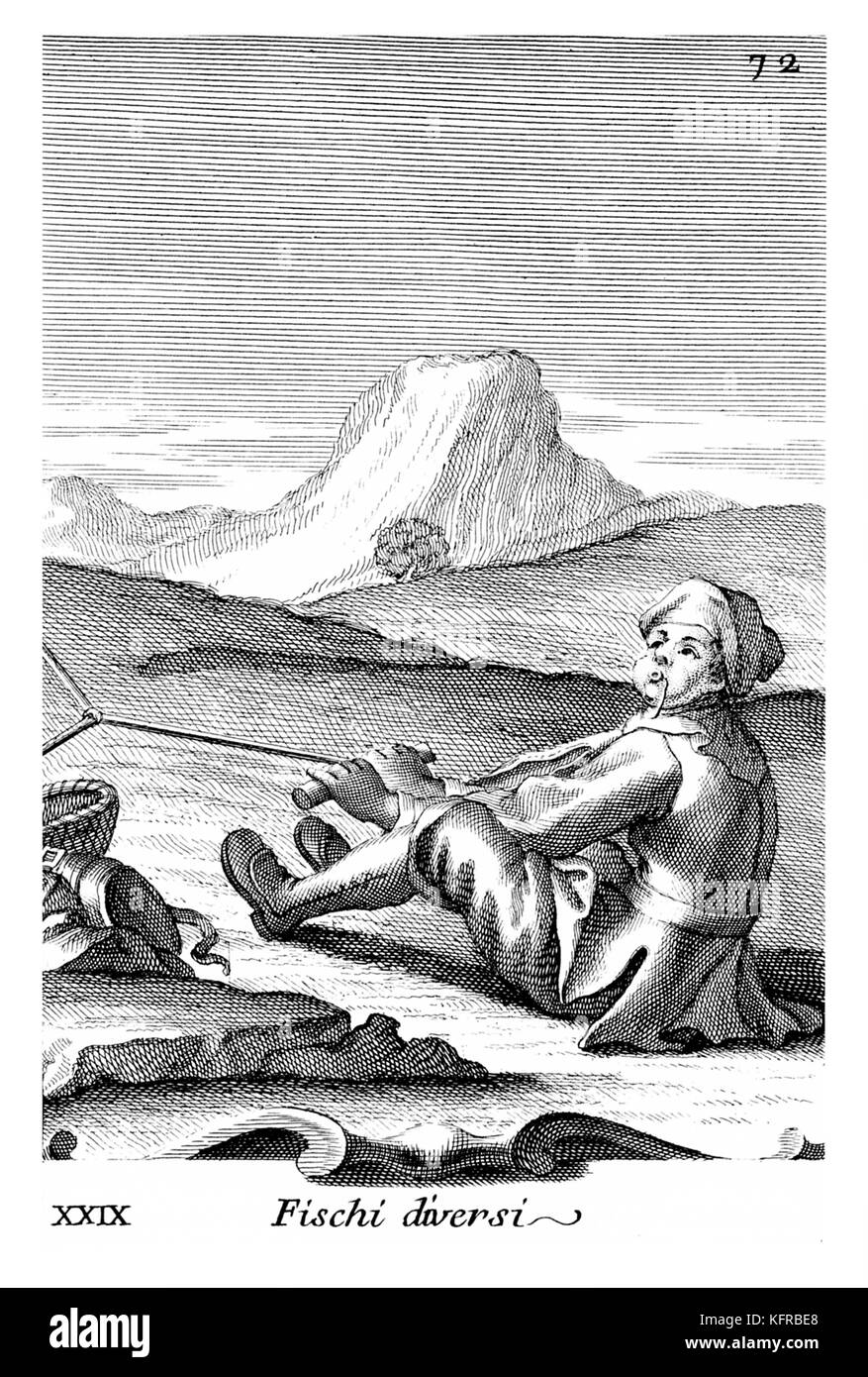Bird catcher with whistle. Illustration from Filippo Bonanni's  'Gabinetto Armonico'  published in 1723, - Stock Image