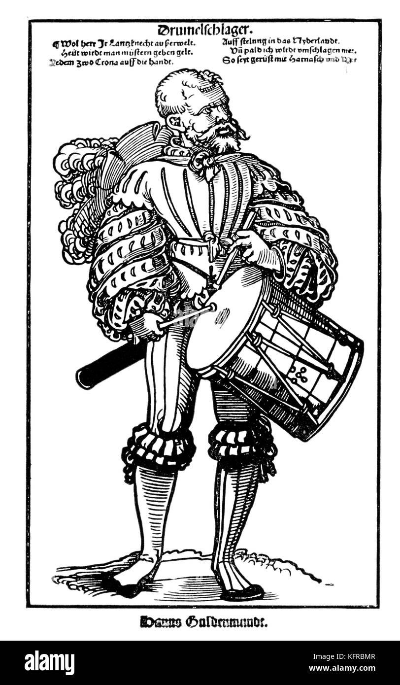 Drummer engraving by Hans Sebald Beham (for Hanns Guldenmudt's Landsknechtforge). HSB German printmaker 1500 - Stock Image