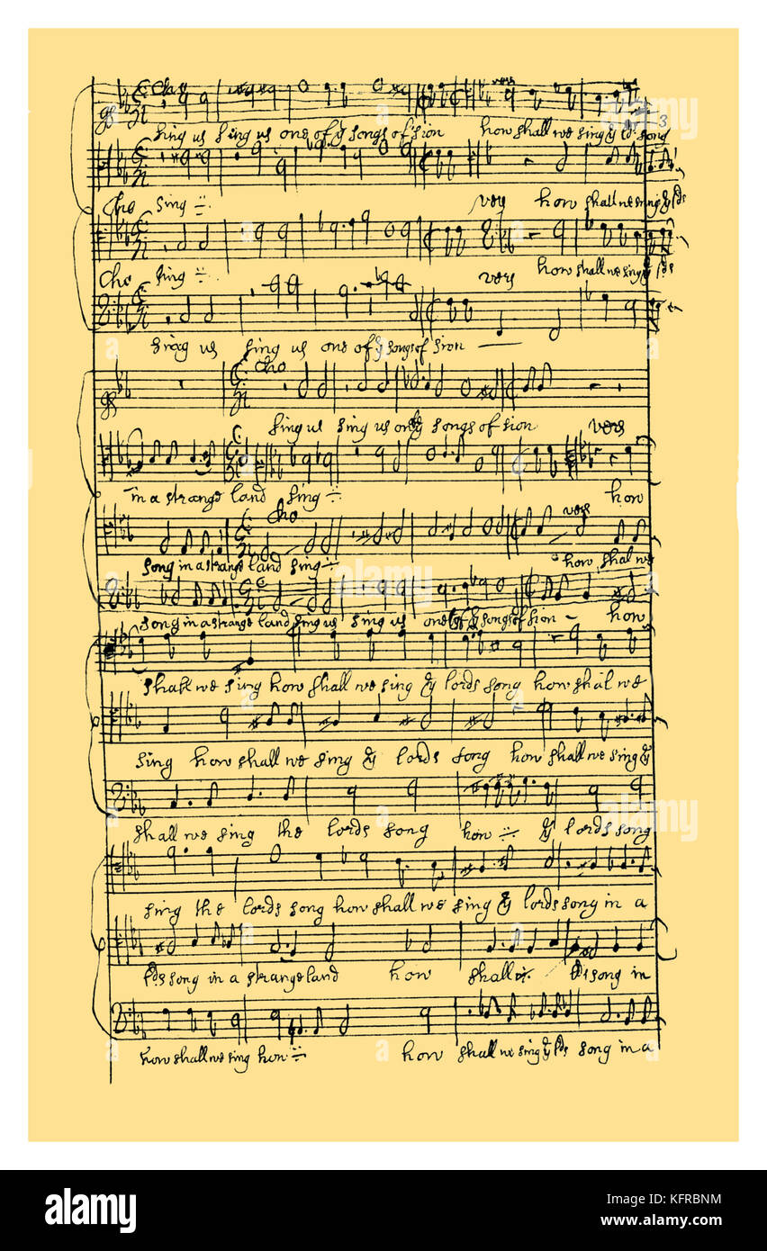 Autograph: Vocal score by Henry Purcell of the anthem 'By the waters of Babylon', probably composed before - Stock Image