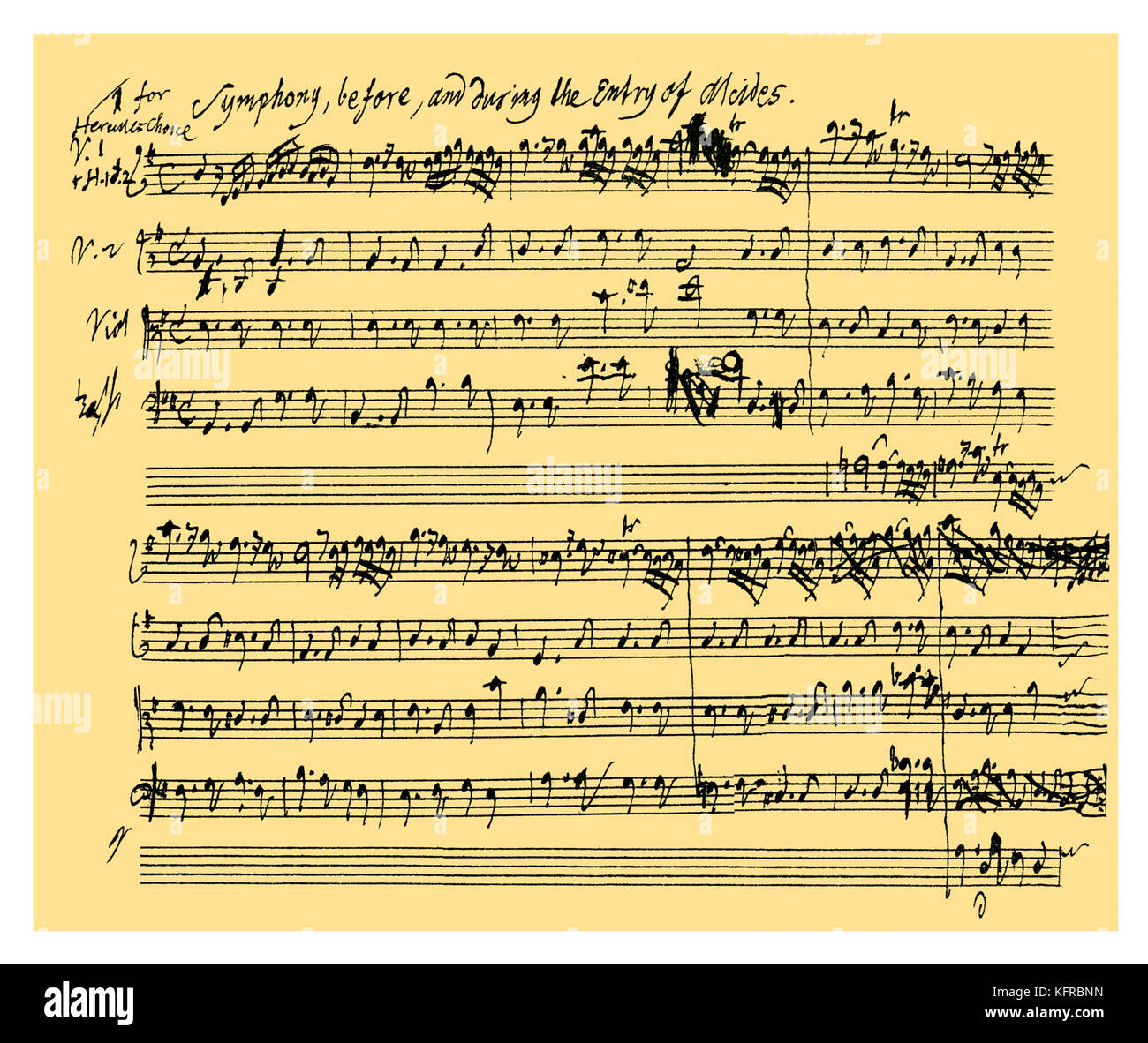 Alcestes Autograph: Beginning of the symphony which accompanies the entry of Alcides in Tobias Smollett's otherwise - Stock Image