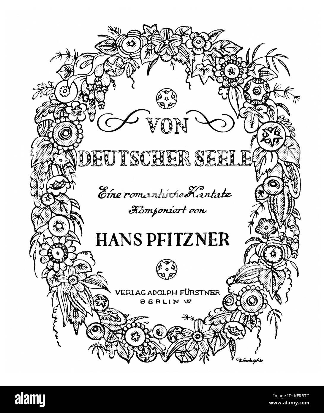 Hans Pfitzner 's cantata 'Von deutscher Seele' - score cover illustration. German composer, 5 May 1869 - Stock Image