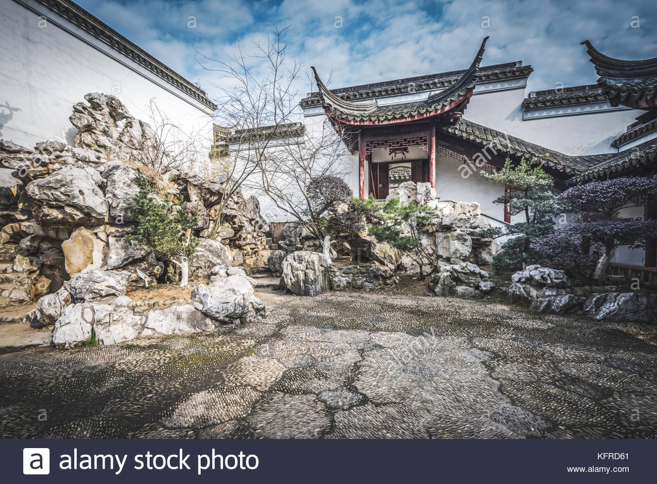 ancient chinese architecture in suzhou garden stock photo