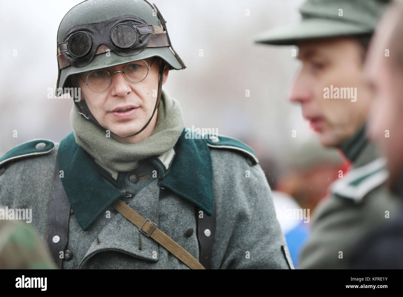 Belarus, Gomel, November 21, 2016, Reconstruction of the battle of the Second World War. German soldier of the Second Stock Photo