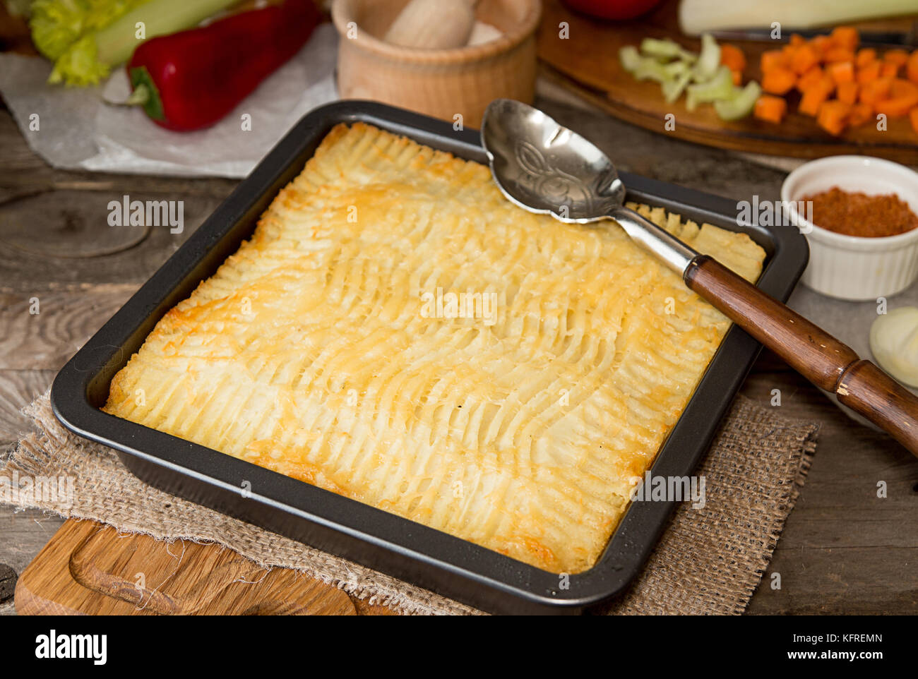 Shepherdu0027s pie traditional english dish. Pie on plate. Recipe with minced beef lamb carrot onion celery mashed potato baked in casserole. Rustic & Shepherdu0027s pie traditional english dish. Pie on plate. Recipe with ...