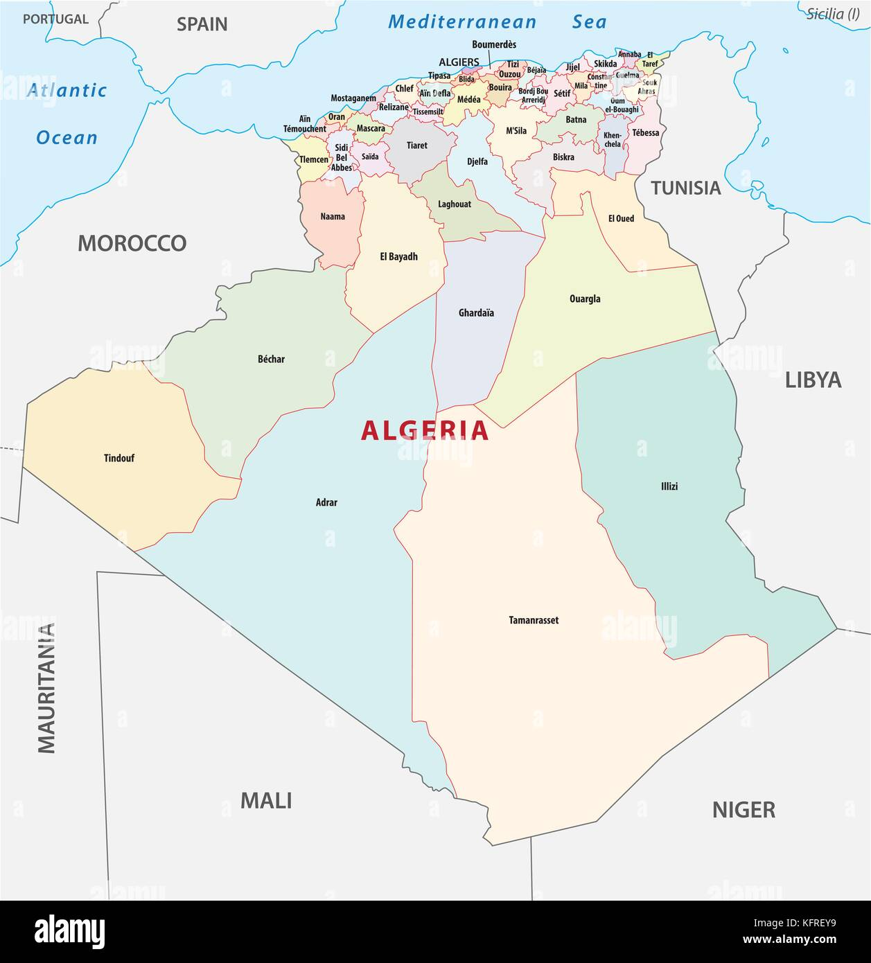 algeria administrative, political and vector map - Stock Image