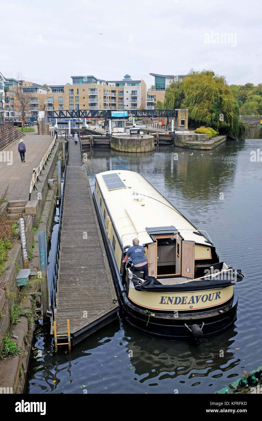 Brentford Chiswick London UK October 2017 - Narrowboats on the River Brent canals off the River Thames Photograph - Stock Image