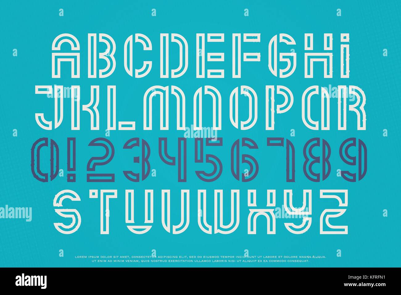 Stencil Alphabet Letters And Numbers Vector Outline Font Type Regular Typeface Design Medium Contour Typesetting