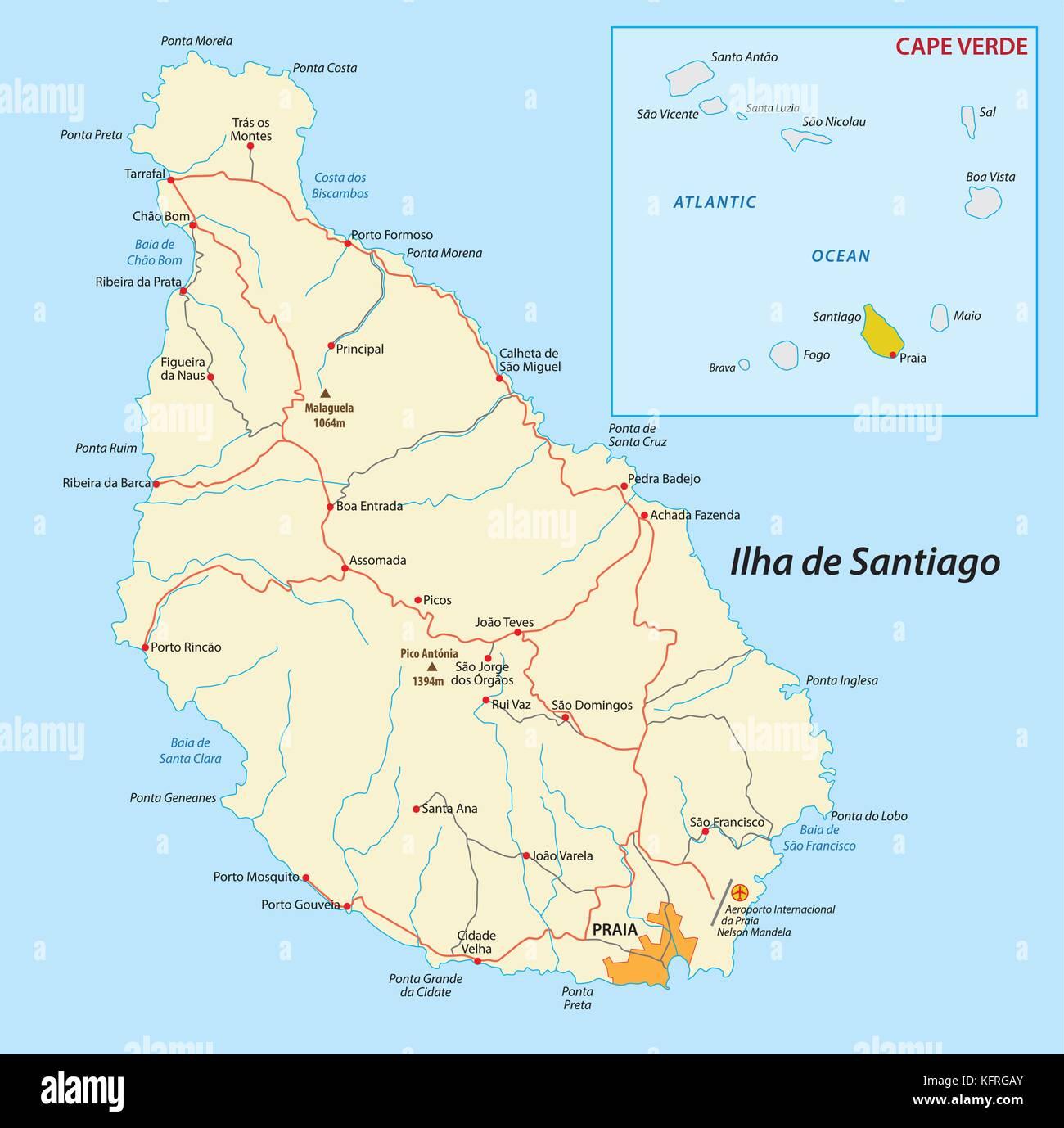Santiago island, cape verde vector map Stock Vector Art ...