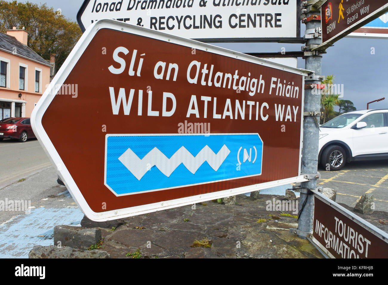 Wild Atlantic Way Signpost, Castletownbere, County Cork, Ireland - John Gollop - Stock Image