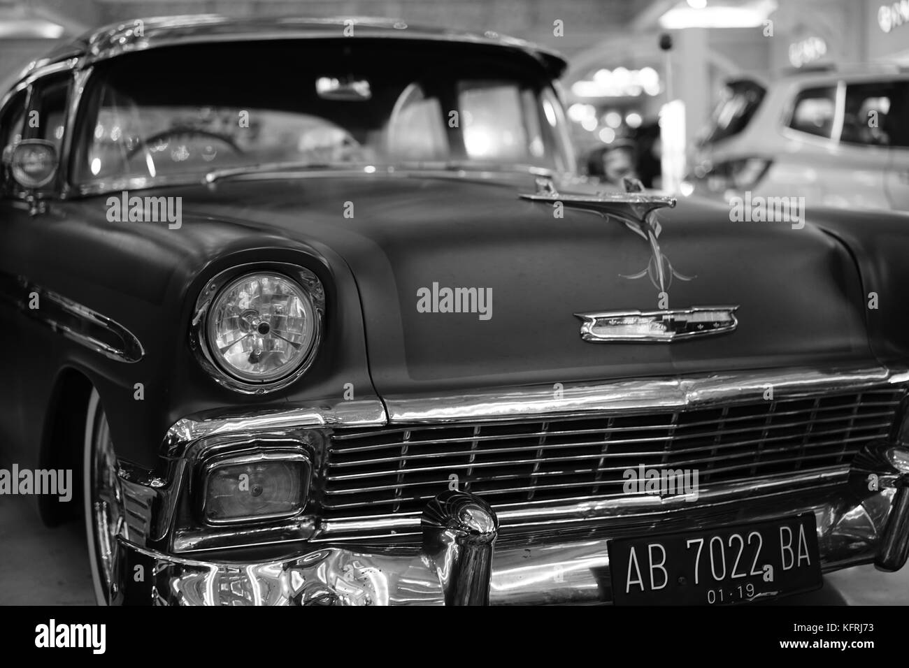 B/W OLDSCHOOL CAR - Stock Image