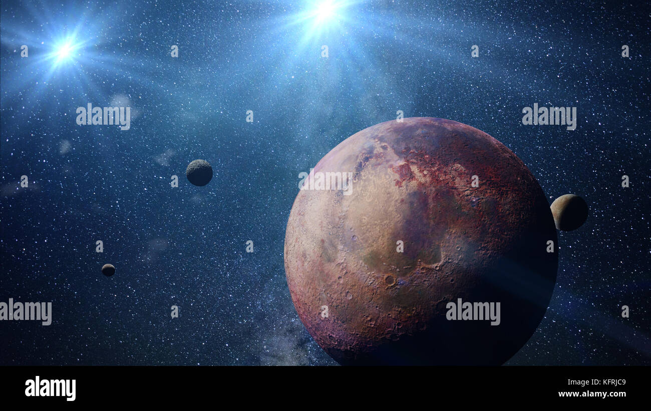 beautiful exoplanet with exo-moons orbiting an alien binary star system (3d space illustration) - Stock Image