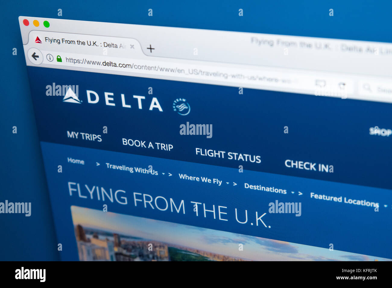 LONDON, UK - OCTOBER 21ST 2017: The homepage of the official website for Delta Airlines, the major American Air Stock Photo