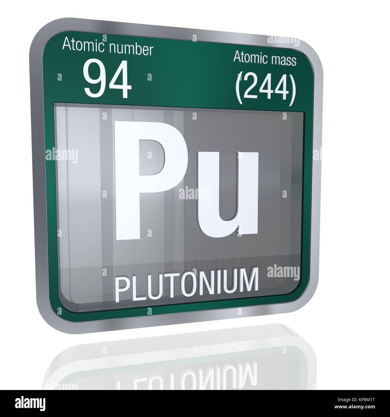 Plutonium Symbol In Square Shape With Metallic Border And Stock