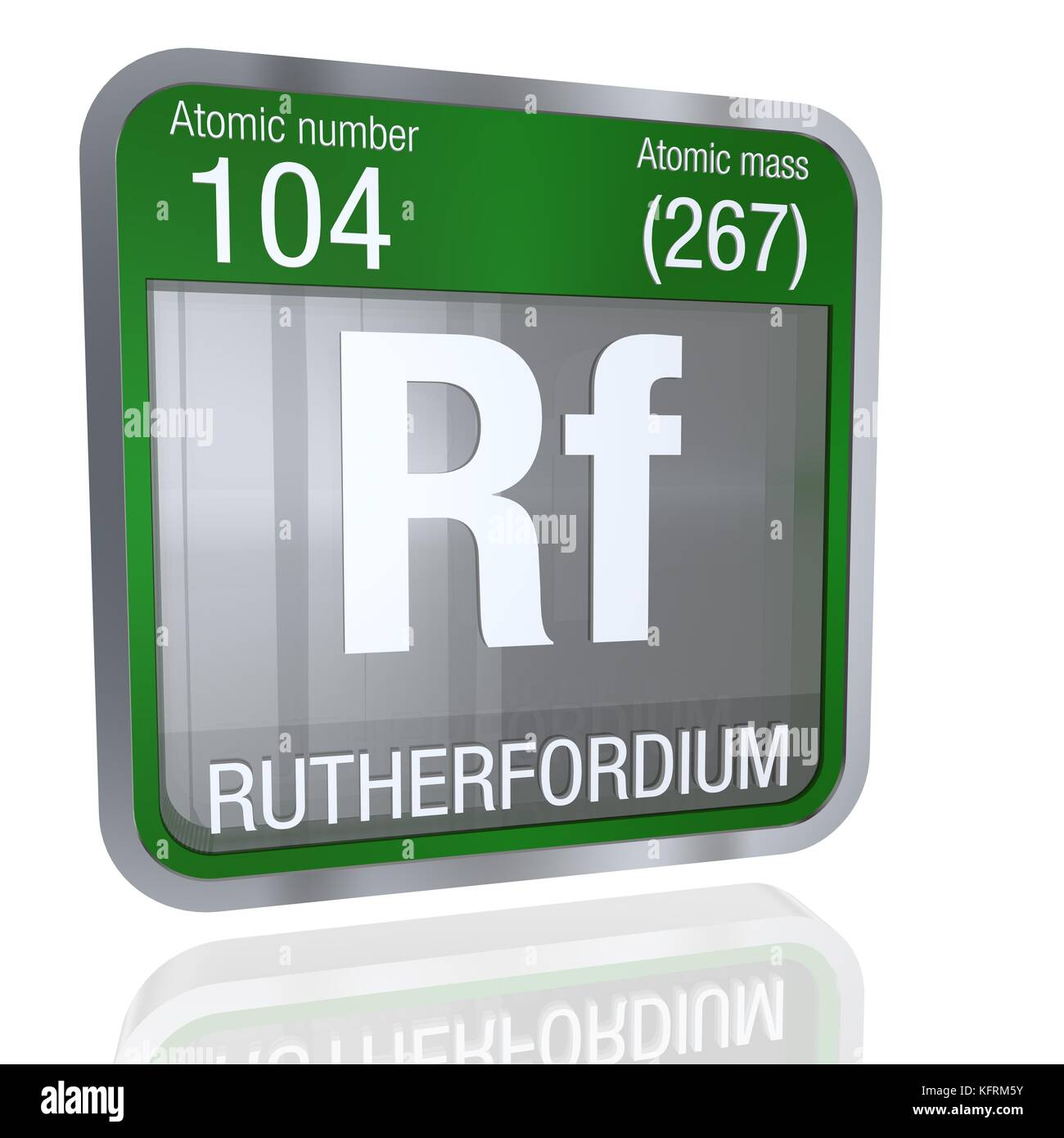 Rutherfordium symbol  in square shape with metallic border and transparent background with reflection on the floor. Stock Photo