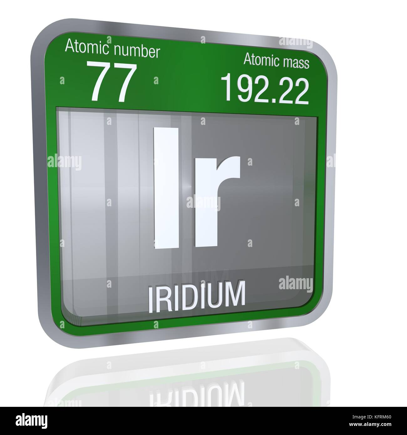 Iridium symbol  in square shape with metallic border and transparent background with reflection on the floor. 3D Stock Photo