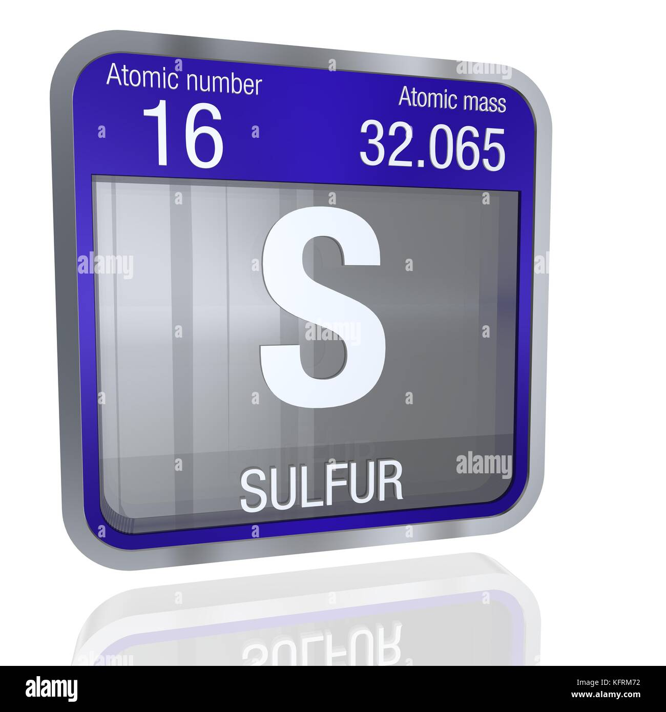 Symbol chemical element sulfur stock photos symbol chemical sulfur symbol in square shape with metallic border and transparent background with reflection on the floor urtaz Image collections