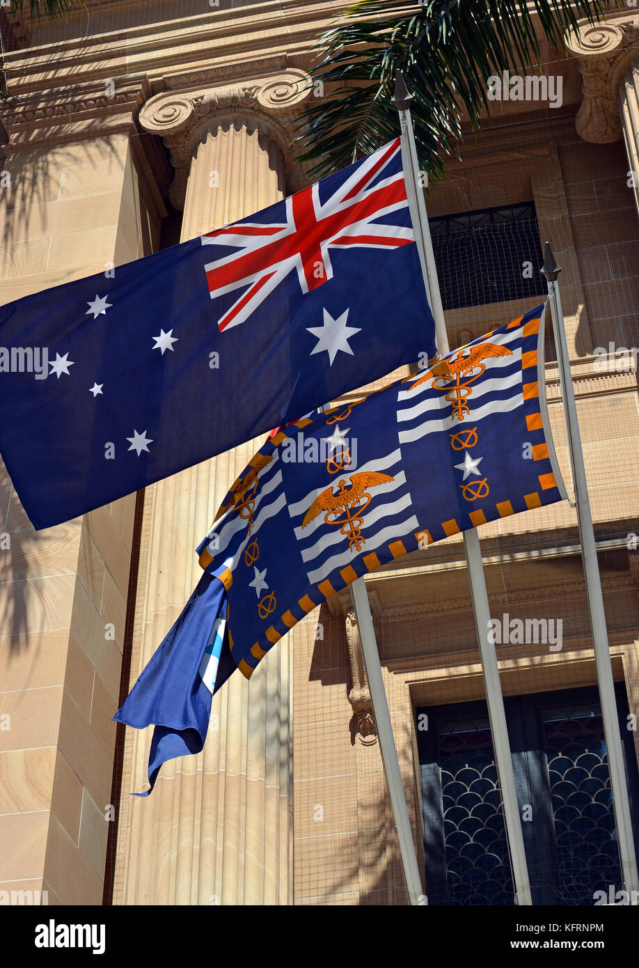 Flags Outside Brisbane's City Hall on a Spring morning, Queensland, Australia - Stock Image