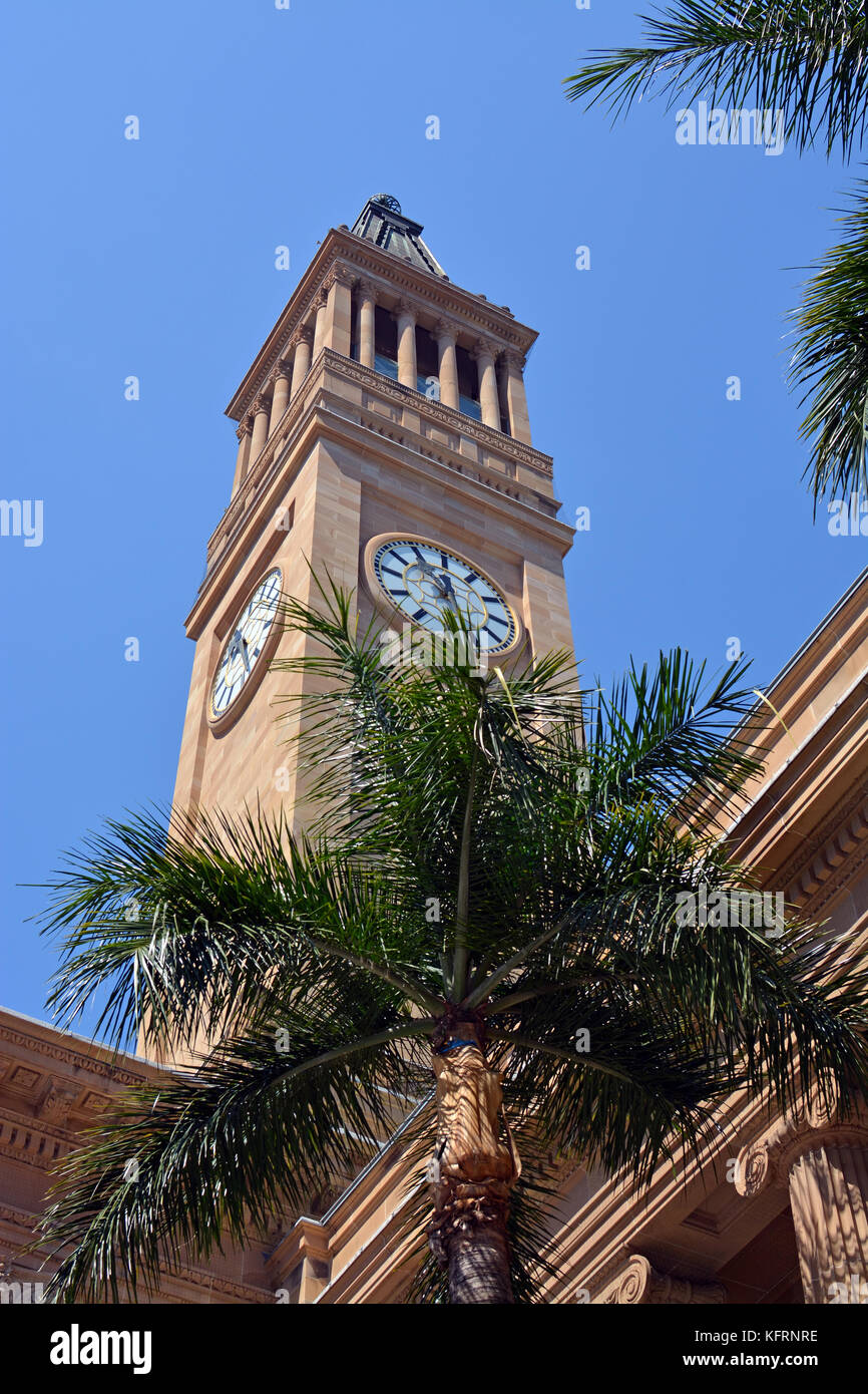 Brisbane City Hall & Tower plus Palm Tree in downtown, Queensland Australia - Stock Image