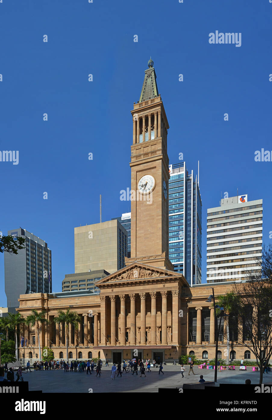Brisbane, Australia - September 19, 2017: Brisbane City Hall, Tower & Square Vertical Panorama, Queensland Australia - Stock Image