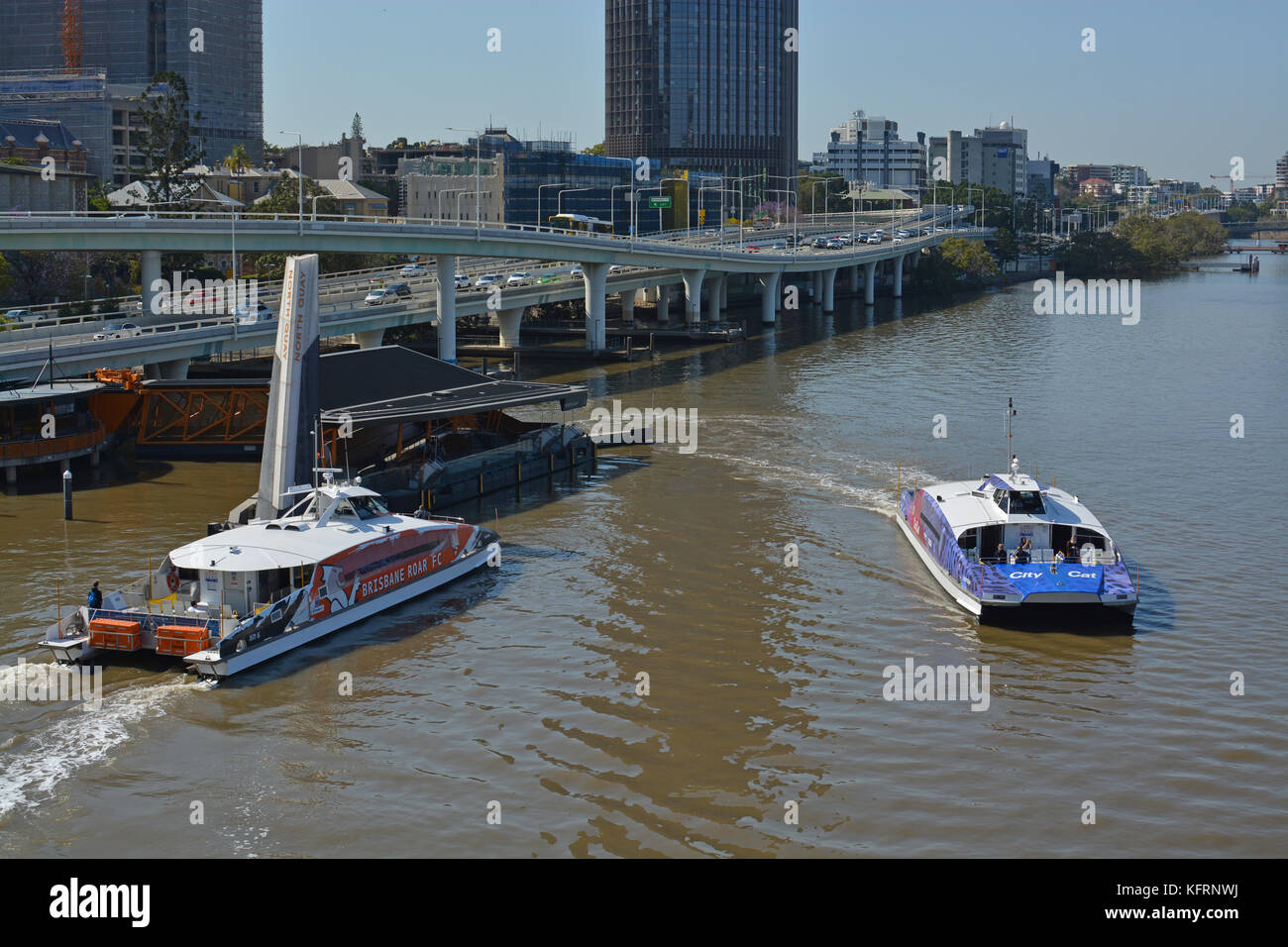 Brisbane, Australia - September 19, 2017: Brisbane River Passenger Ferries in the early morning Panorama, Queensland - Stock Image